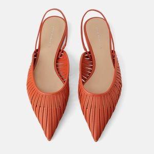 Zara Burnt Orange Strappy Mule Flats